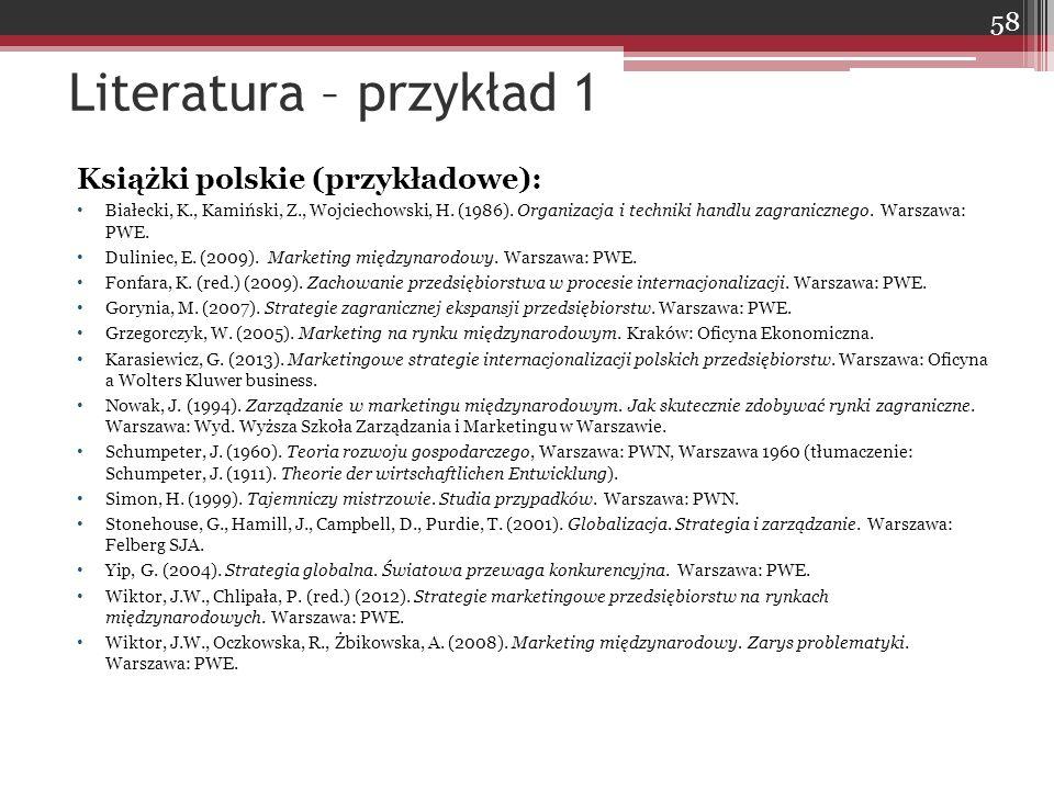 Książki polskie (przykładowe): Białecki, K., Kamiński, Z., Wojciechowski, H. (1986). Organizacja i techniki handlu zagranicznego. Warszawa: PWE. Dulin