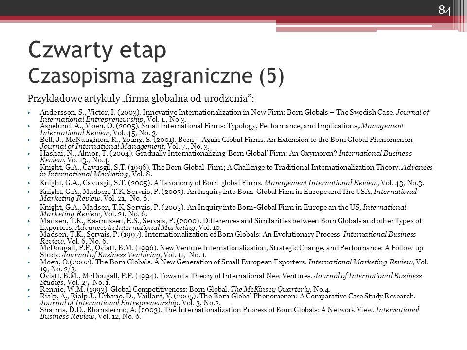 """Czwarty etap Czasopisma zagraniczne (5) Przykładowe artykuły """"firma globalna od urodzenia"""": Andersson, S., Victor, I. (2003). Innovative International"""