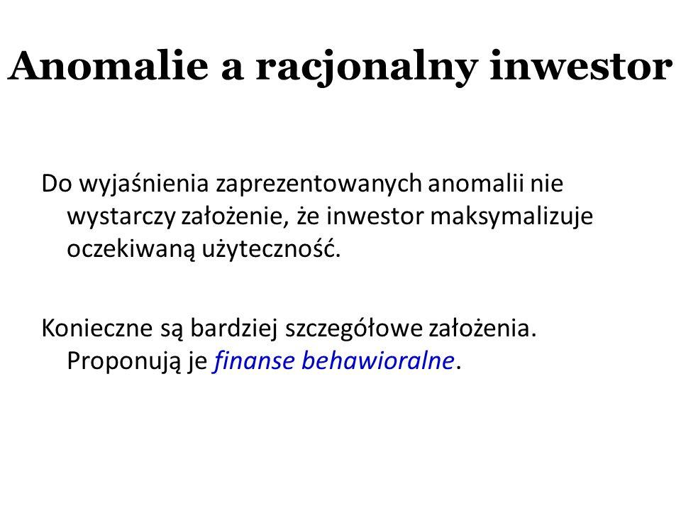 Anomalie a racjonalny inwestor Do wyjaśnienia zaprezentowanych anomalii nie wystarczy założenie, że inwestor maksymalizuje oczekiwaną użyteczność. Kon