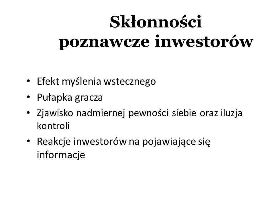 Skłonności poznawcze inwestorów Efekt myślenia wstecznego Pułapka gracza Zjawisko nadmiernej pewności siebie oraz iluzja kontroli Reakcje inwestorów n