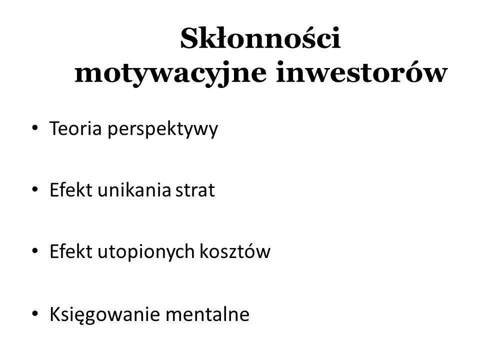 Skłonności motywacyjne inwestorów Teoria perspektywy Efekt unikania strat Efekt utopionych kosztów Księgowanie mentalne