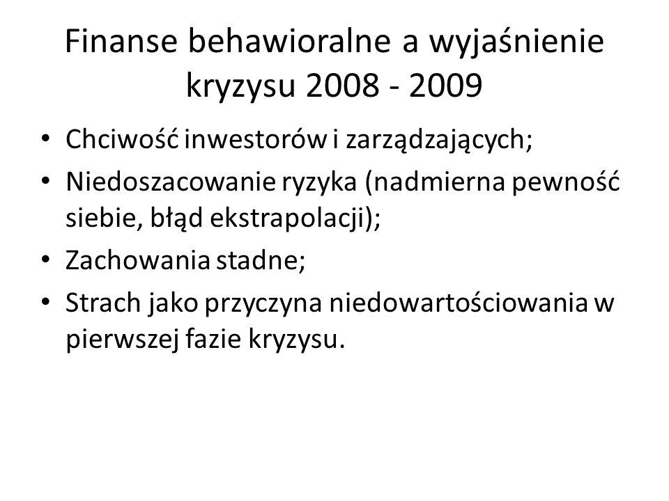 Finanse behawioralne a wyjaśnienie kryzysu 2008 - 2009 Chciwość inwestorów i zarządzających; Niedoszacowanie ryzyka (nadmierna pewność siebie, błąd ek