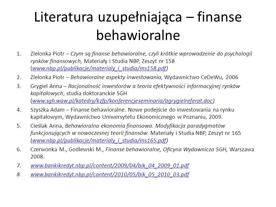 Literatura uzupełniająca – finanse behawioralne 1.Zielonka Piotr – Czym są finanse behawioralne, czyli krótkie wprowadzenie do psychologii rynków finansowych, Materiały i Studia NBP, Zeszyt nr 158 (www.nbp.pl/publikacje/materialy_i_studia/ms158.pdf)www.nbp.pl/publikacje/materialy_i_studia/ms158.pdf 2.Zielonka Piotr – Behawioralne aspekty inwestowania, Wydawnictwo CeDeWu, 2006 3.Grygiel Anna – Racjonalność inwestorów a teoria efektywności informacyjnej rynków kapitałowych, studia doktoranckie SGH (www.sgh.waw.pl/katedry/kzfp/konferencjeseminaria/agrygielreferat.doc)www.sgh.waw.pl/katedry/kzfp/konferencjeseminaria/agrygielreferat.doc 4.Szyszka Adam – Finanse behawioralne.