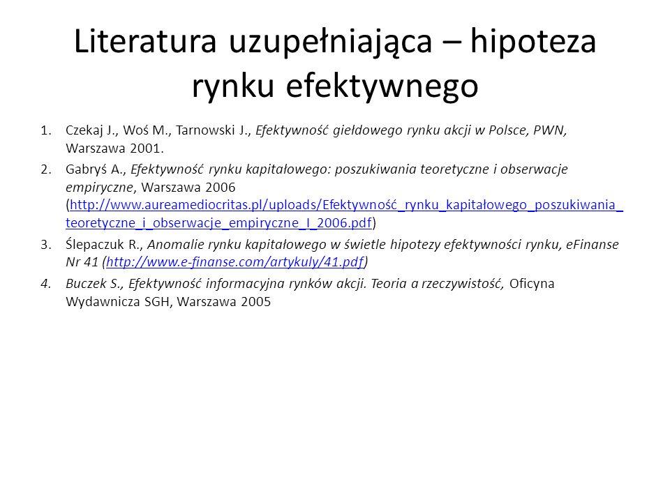 Literatura uzupełniająca – hipoteza rynku efektywnego 1.Czekaj J., Woś M., Tarnowski J., Efektywność giełdowego rynku akcji w Polsce, PWN, Warszawa 2001.