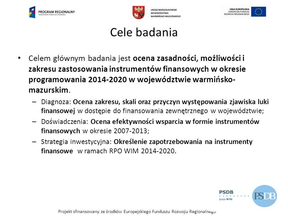 Projekt sfinansowany ze środków Europejskiego Funduszu Rozwoju Regionalnego Typy inwestycji vs zapotrzebowanie na środki inwestycyjne Źródło: Opracowanie własne na podstawie wyników badania CATI [n=580].