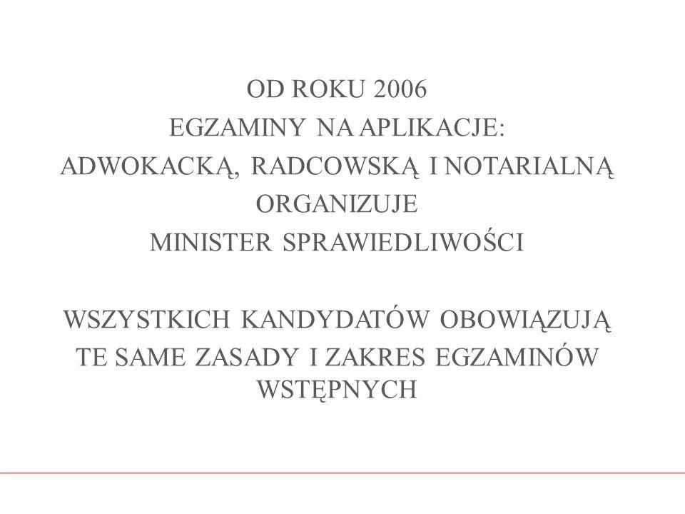 OD ROKU 2006 EGZAMINY NA APLIKACJE: ADWOKACKĄ, RADCOWSKĄ I NOTARIALNĄ ORGANIZUJE MINISTER SPRAWIEDLIWOŚCI WSZYSTKICH KANDYDATÓW OBOWIĄZUJĄ TE SAME ZAS
