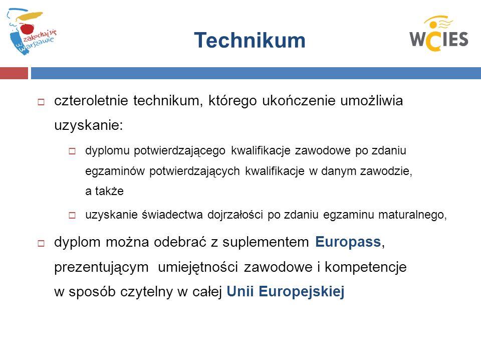Technikum  czteroletnie technikum, którego ukończenie umożliwia uzyskanie:  dyplomu potwierdzającego kwalifikacje zawodowe po zdaniu egzaminów potwierdzających kwalifikacje w danym zawodzie, a także  uzyskanie świadectwa dojrzałości po zdaniu egzaminu maturalnego,  dyplom można odebrać z suplementem Europass, prezentującym umiejętności zawodowe i kompetencje w sposób czytelny w całej Unii Europejskiej
