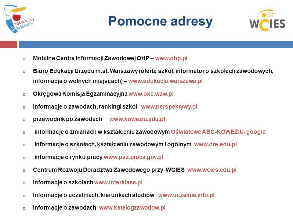  Mobilne Centra Informacji Zawodowej OHP – www.ohp.pl  Biuro Edukacji Urzędu m.st.