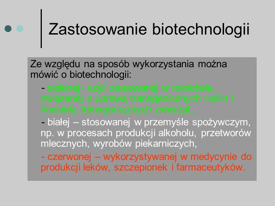 W biotechnologii wykorzystuje się osiągnięcia genetyki i biologii molekularnej.