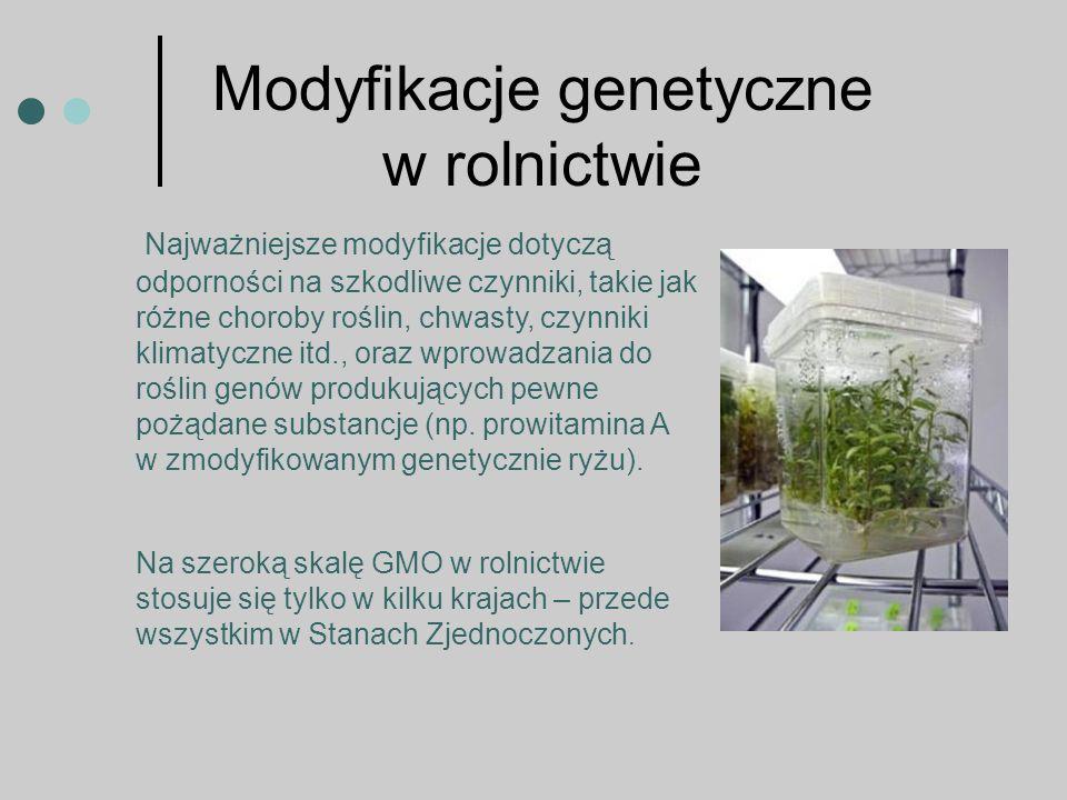 Najważniejsze modyfikacje dotyczą odporności na szkodliwe czynniki, takie jak różne choroby roślin, chwasty, czynniki klimatyczne itd., oraz wprowadzania do roślin genów produkujących pewne pożądane substancje (np.