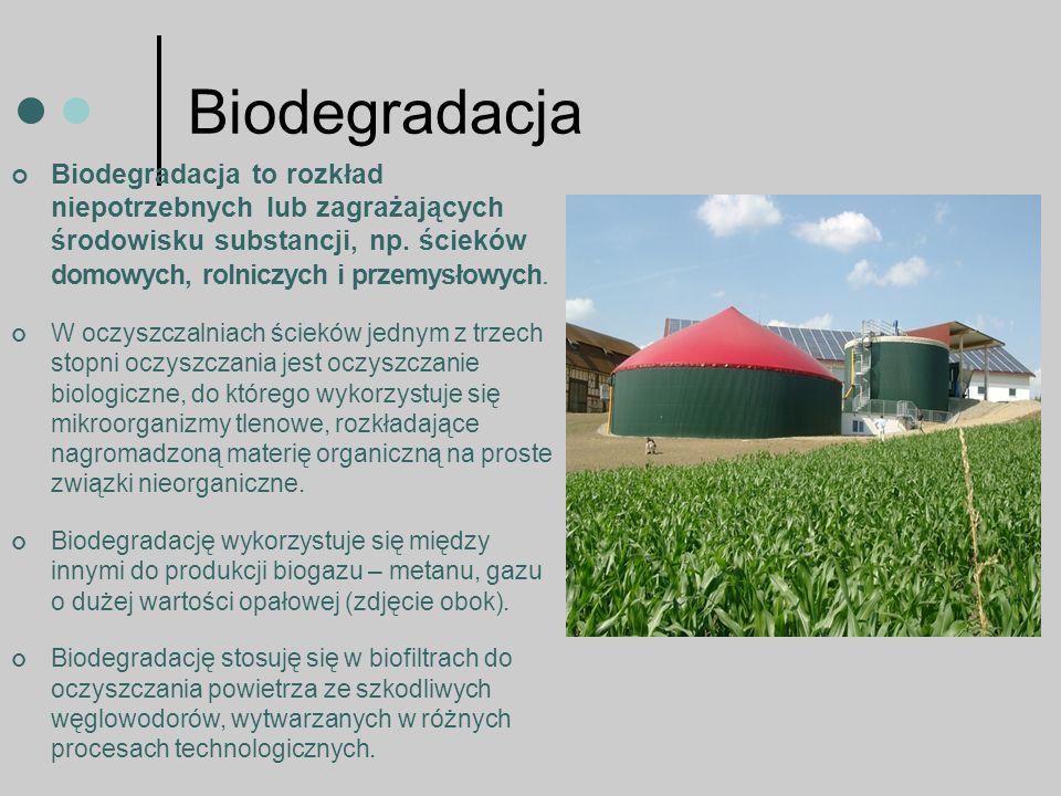 Biodegradacja Biodegradacja to rozkład niepotrzebnych lub zagrażających środowisku substancji, np.