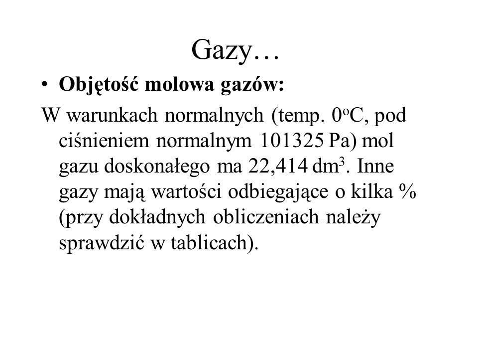 Gazy… Objętość molowa gazów: W warunkach normalnych (temp.