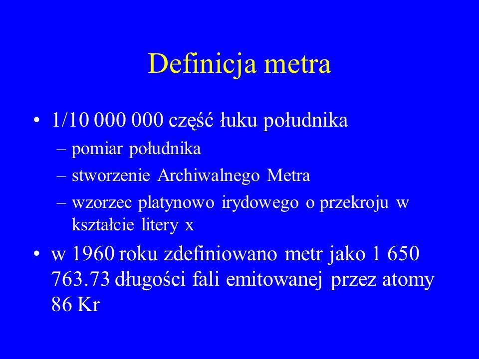 Definicja metra 1/10 000 000 część łuku południka –pomiar południka –stworzenie Archiwalnego Metra –wzorzec platynowo irydowego o przekroju w kształci
