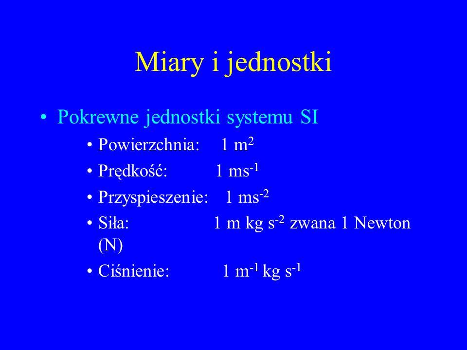 Miary i jednostki Pokrewne jednostki systemu SI Powierzchnia: 1 m 2 Prędkość: 1 ms -1 Przyspieszenie: 1 ms -2 Siła: 1 m kg s -2 zwana 1 Newton (N) Ciś