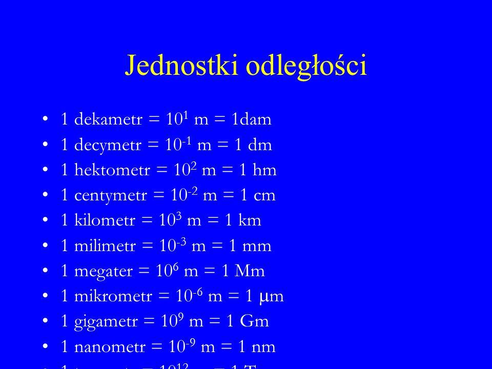 Jednostki odległości 1 dekametr = 10 1 m = 1dam 1 decymetr = 10 -1 m = 1 dm 1 hektometr = 10 2 m = 1 hm 1 centymetr = 10 -2 m = 1 cm 1 kilometr = 10 3