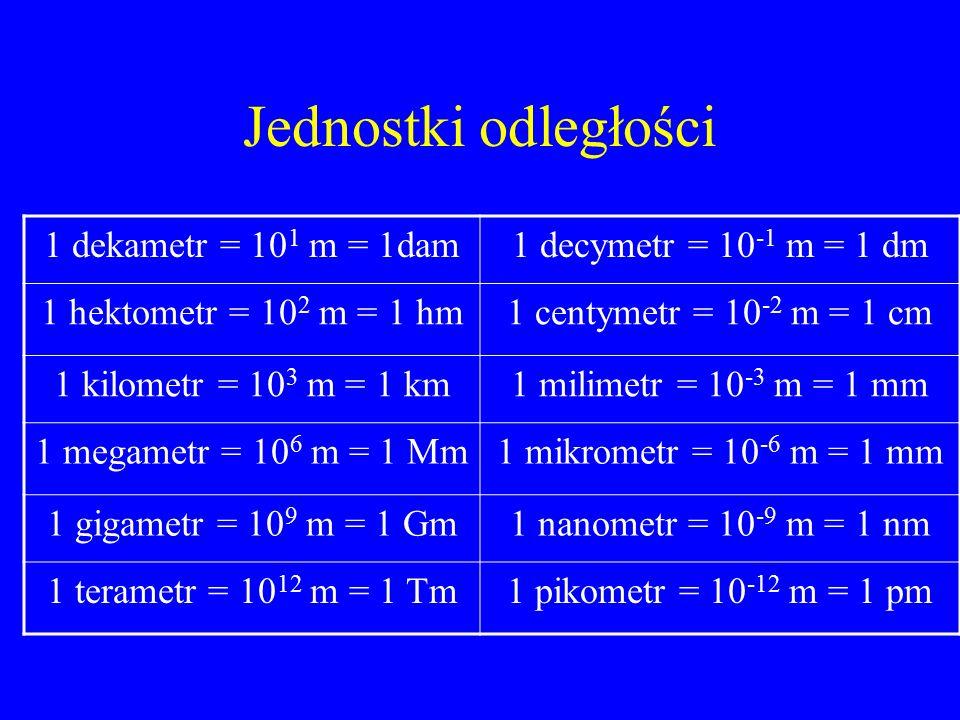 Jednostki odległości 1 dekametr = 10 1 m = 1dam1 decymetr = 10 -1 m = 1 dm 1 hektometr = 10 2 m = 1 hm1 centymetr = 10 -2 m = 1 cm 1 kilometr = 10 3 m