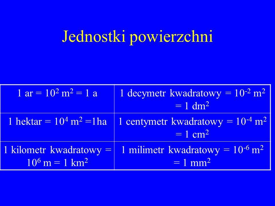 Jednostki powierzchni 1 ar = 10 2 m 2 = 1 a1 decymetr kwadratowy = 10 -2 m 2 = 1 dm 2 1 hektar = 10 4 m 2 =1ha1 centymetr kwadratowy = 10 -4 m 2 = 1 c