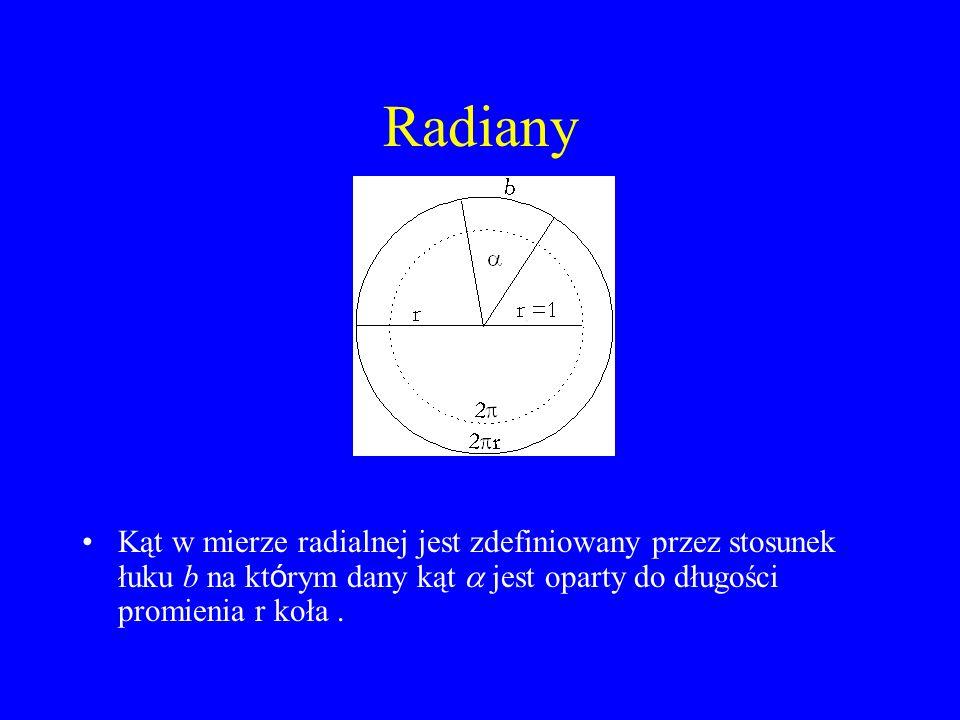 Radiany Kąt w mierze radialnej jest zdefiniowany przez stosunek łuku b na kt ó rym dany kąt  jest oparty do długości promienia r koła.