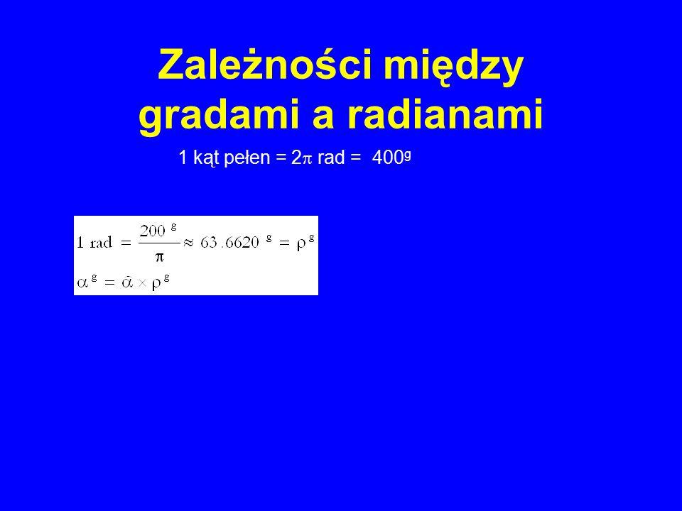 Zależności między gradami a radianami 1 kąt pełen = 2  rad = 400 g