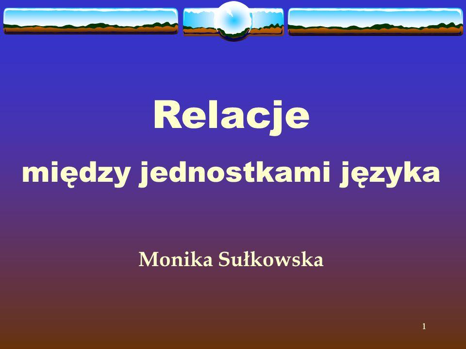 1 Relacje między jednostkami języka Monika Sułkowska
