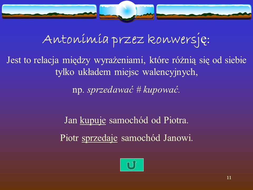 11 Antonimia przez konwersj ę : Jest to relacja między wyrażeniami, które różnią się od siebie tylko układem miejsc walencyjnych, np. sprzedawać # kup