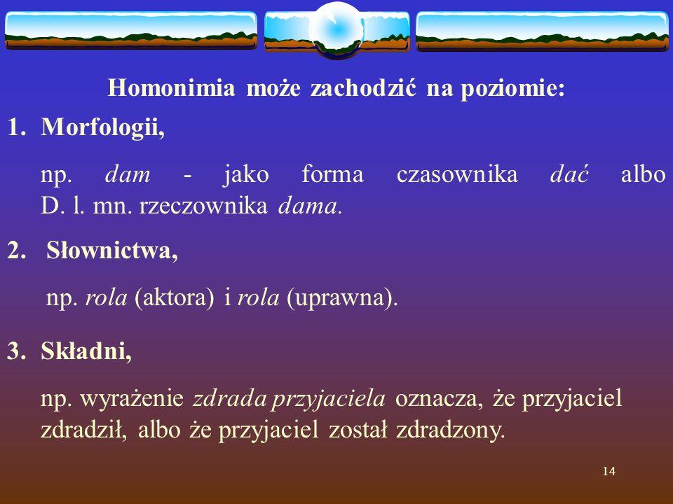 14 Homonimia może zachodzić na poziomie: 1.Morfologii, np. dam - jako forma czasownika dać albo D. l. mn. rzeczownika dama. 2. Słownictwa, np. rola (a