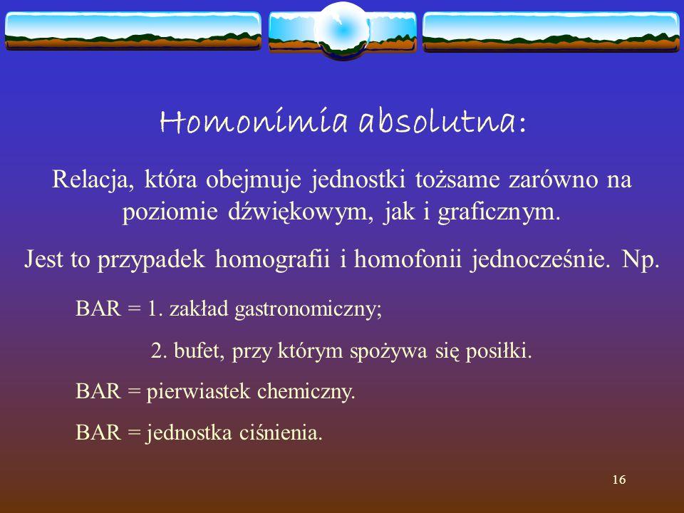16 Homonimia absolutna: Relacja, która obejmuje jednostki tożsame zarówno na poziomie dźwiękowym, jak i graficznym. Jest to przypadek homografii i hom