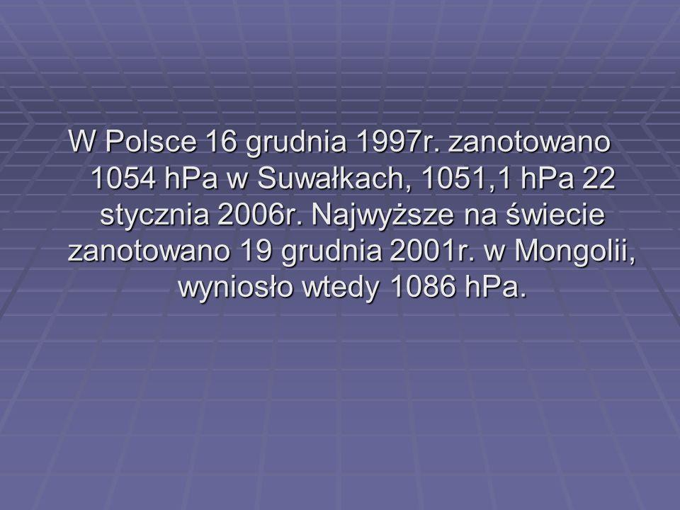 W Polsce 16 grudnia 1997r. zanotowano 1054 hPa w Suwałkach, 1051,1 hPa 22 stycznia 2006r. Najwyższe na świecie zanotowano 19 grudnia 2001r. w Mongolii