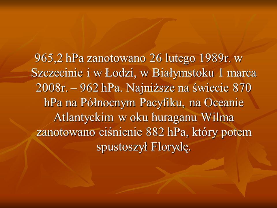 965,2 hPa zanotowano 26 lutego 1989r. w Szczecinie i w Łodzi, w Białymstoku 1 marca 2008r. – 962 hPa. Najniższe na świecie 870 hPa na Północnym Pacyfi