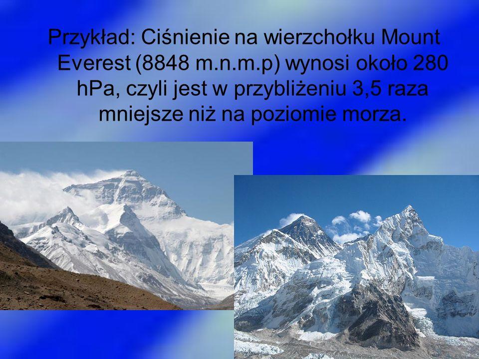 Przykład: Ciśnienie na wierzchołku Mount Everest (8848 m.n.m.p) wynosi około 280 hPa, czyli jest w przybliżeniu 3,5 raza mniejsze niż na poziomie morz