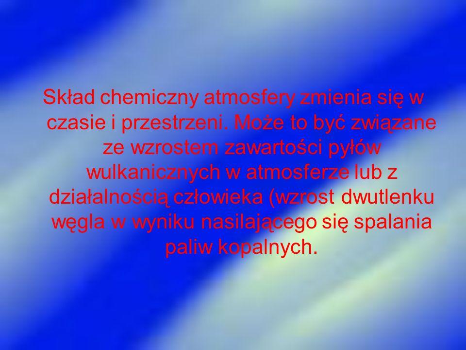 Skład chemiczny atmosfery zmienia się w czasie i przestrzeni. Może to być związane ze wzrostem zawartości pyłów wulkanicznych w atmosferze lub z dział