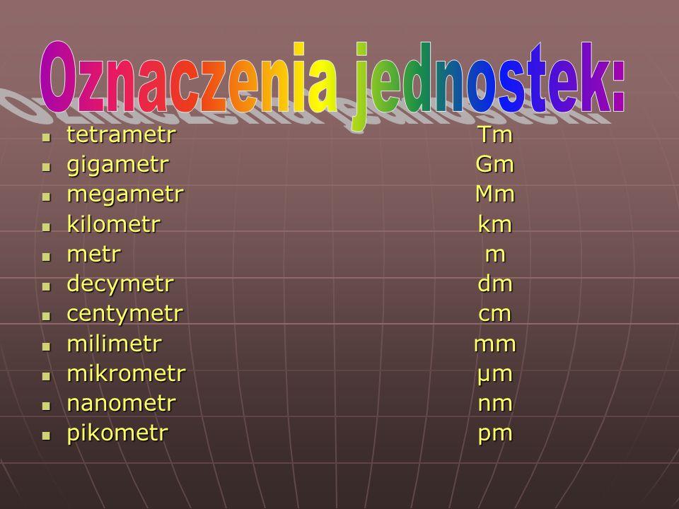 tetrametr tetrametr gigametr gigametr megametr megametr kilometr kilometr metr metr decymetr decymetr centymetr centymetr milimetr milimetr mikrometr mikrometr nanometr nanometr pikometr pikometrTmGmMmkmmdmcmmm µm nmpm