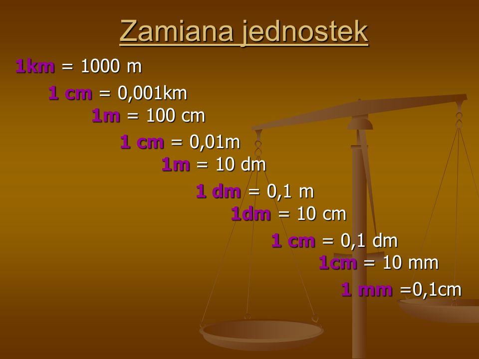Zamiana jednostek 1km = 1000 m 1 cm = 0,001km 1m = 100 cm 1 cm = 0,001km 1m = 100 cm 1 cm = 0,01m 1m = 10 dm 1 cm = 0,01m 1m = 10 dm 1 dm = 0,1 m 1dm = 10 cm 1 dm = 0,1 m 1dm = 10 cm 1 cm = 0,1 dm 1cm = 10 mm 1 cm = 0,1 dm 1cm = 10 mm 1 mm =0,1cm 1 mm =0,1cm