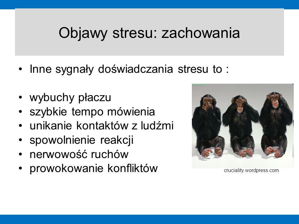 Inne sygnały doświadczania stresu to : wybuchy płaczu szybkie tempo mówienia unikanie kontaktów z ludźmi spowolnienie reakcji nerwowość ruchów prowoko