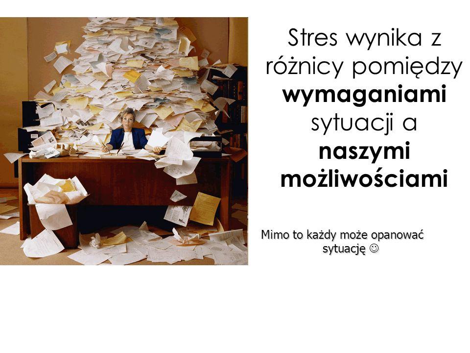 negatywny stres obniża także efektywność pracy umysłowej, powodując: osłabienie pamięci obniżenie efektywności i tempa pracy intelektualnej częste pomyłki uczucie pustki w głowie trudności w koncentracji http://pl.fotolia.com/id/34002202 Stres a sprawność intelektualna