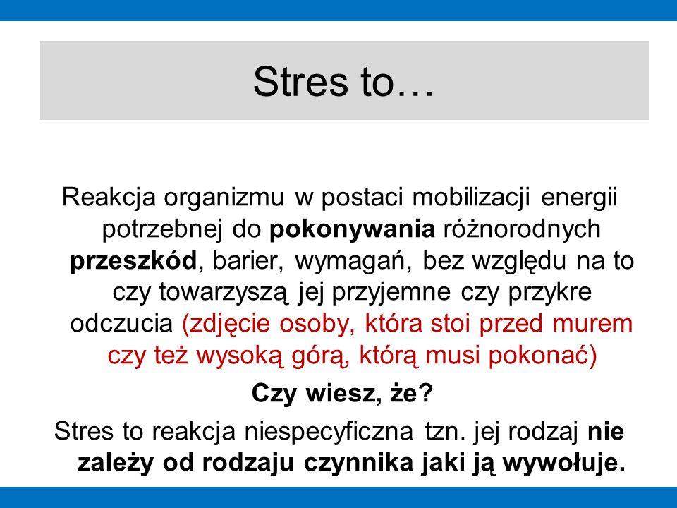 """Wyróżniamy stres: pozytywny stres, mobilizujący do działania określa się mianem """"eustresu osłabiający, nadmierny stres określa się """"dystresem jest reakcją organizmu na zagrożenie, utrudnienie lub niemożność realizacji ważnych celów i zadań człowieka, pojawia się w momencie zadziałania bodźca Rodzaje stresu """"eustres """"dystres Wyróżniamy dwa rodzaje stresu: Zdjęcie 1Zdjęcie 2"""