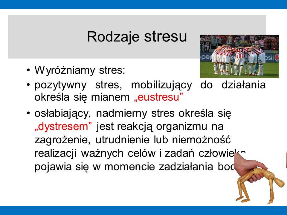 """Wyróżniamy stres: pozytywny stres, mobilizujący do działania określa się mianem """"eustresu"""" osłabiający, nadmierny stres określa się """"dystresem"""" jest r"""