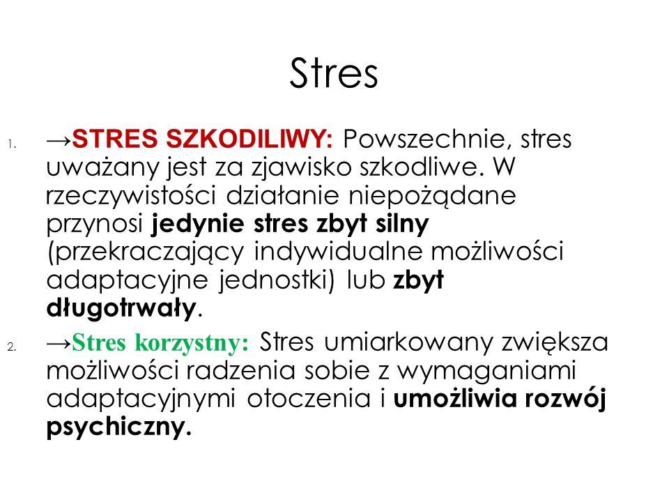Stres 1. → STRES SZKODILIWY: Powszechnie, stres uważany jest za zjawisko szkodliwe. W rzeczywistości działanie niepożądane przynosi jedynie stres zbyt