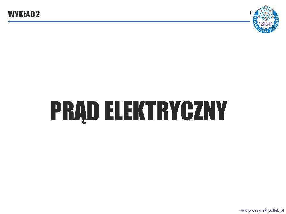 www.proszynski.pollub.pl WYKŁAD 2 PRĄD ELEKTRYCZNY PRĄD ELEKTRYCZNY