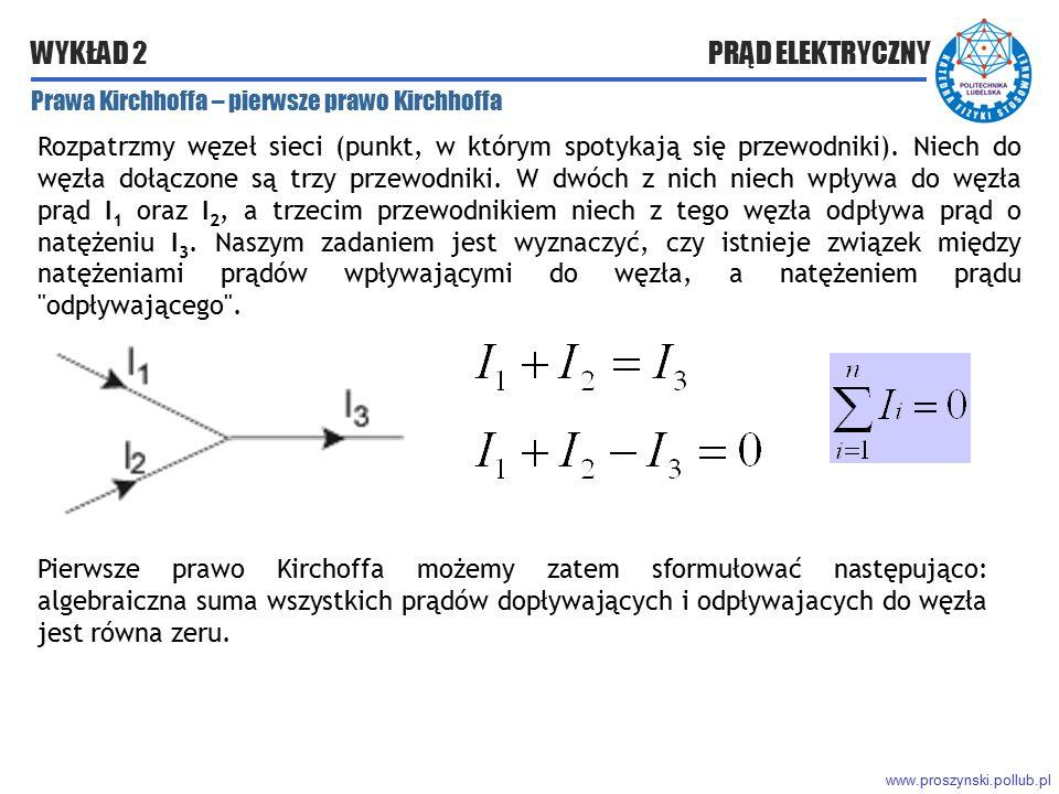 www.proszynski.pollub.pl WYKŁAD 2 PRĄD ELEKTRYCZNY Prawa Kirchhoffa – pierwsze prawo Kirchhoffa Rozpatrzmy węzeł sieci (punkt, w którym spotykają się