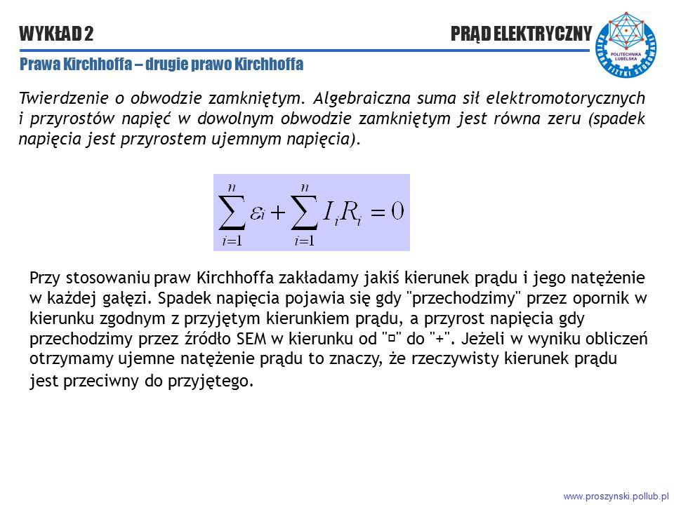 www.proszynski.pollub.pl WYKŁAD 2 PRĄD ELEKTRYCZNY Prawa Kirchhoffa – drugie prawo Kirchhoffa Twierdzenie o obwodzie zamkniętym. Algebraiczna suma sił