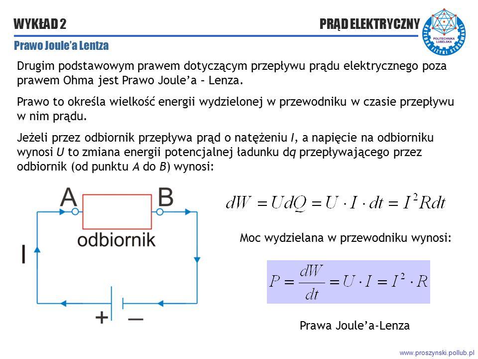 www.proszynski.pollub.pl WYKŁAD 2 PRĄD ELEKTRYCZNY Prawo Joule'a Lentza Drugim podstawowym prawem dotyczącym przepływu prądu elektrycznego poza prawem