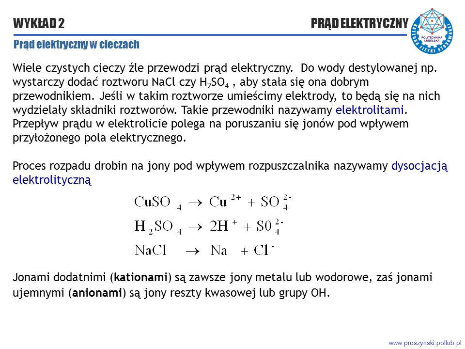 www.proszynski.pollub.pl WYKŁAD 2 PRĄD ELEKTRYCZNY Prąd elektryczny w cieczach Wiele czystych cieczy źle przewodzi prąd elektryczny. Do wody destylowa