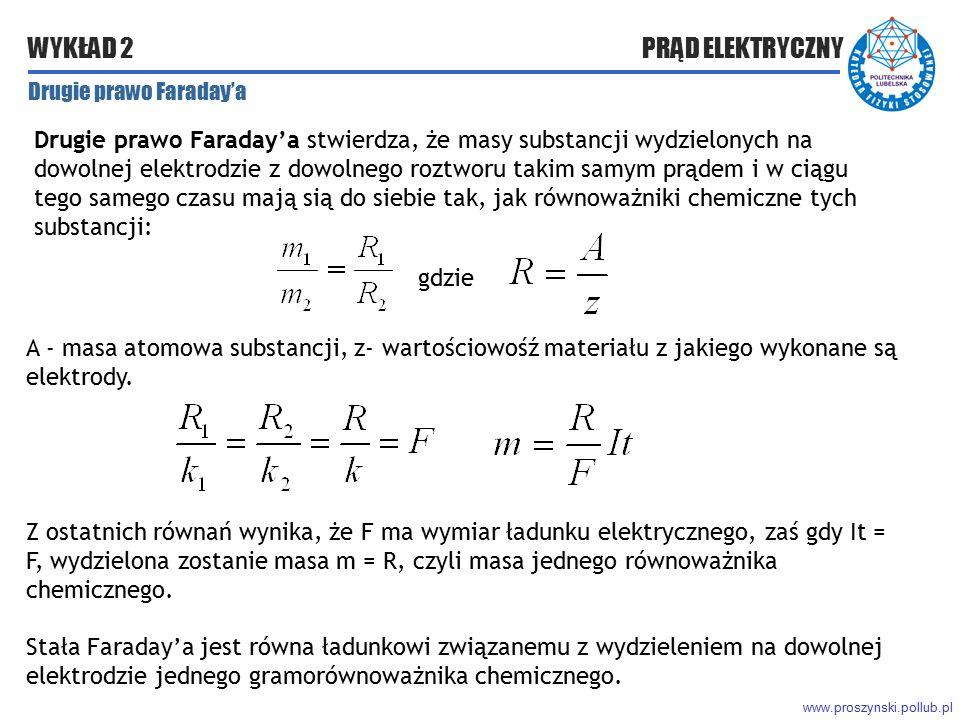 www.proszynski.pollub.pl WYKŁAD 2 PRĄD ELEKTRYCZNY Drugie prawo Faraday'a Drugie prawo Faraday'a stwierdza, że masy substancji wydzielonych na dowolne
