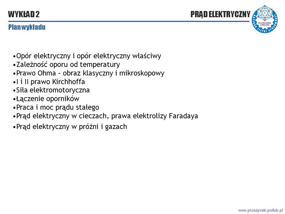 www.proszynski.pollub.pl WYKŁAD 2 PRĄD ELEKTRYCZNY Plan wykładu Opór elektryczny i opór elektryczny właściwy Zależność oporu od temperatury Prawo Ohma