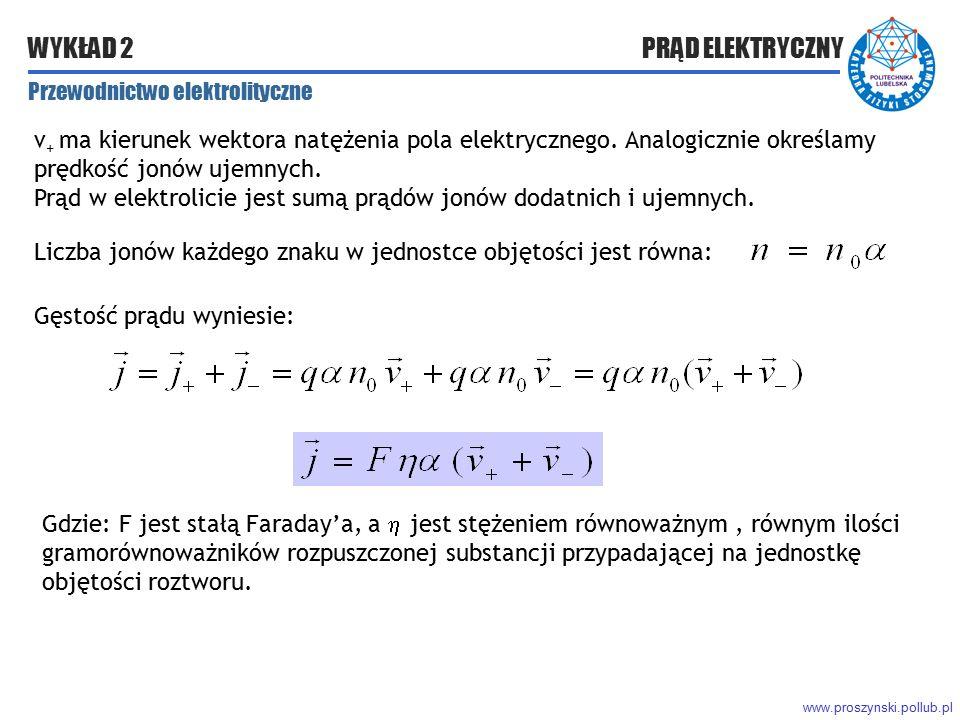 www.proszynski.pollub.pl WYKŁAD 2 PRĄD ELEKTRYCZNY v + ma kierunek wektora natężenia pola elektrycznego. Analogicznie określamy prędkość jonów ujemnyc