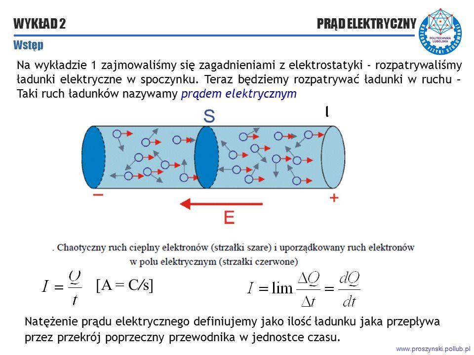 www.proszynski.pollub.pl WYKŁAD 2 PRĄD ELEKTRYCZNY Na wykładzie 1 zajmowaliśmy się zagadnieniami z elektrostatyki - rozpatrywaliśmy ładunki elektryczn