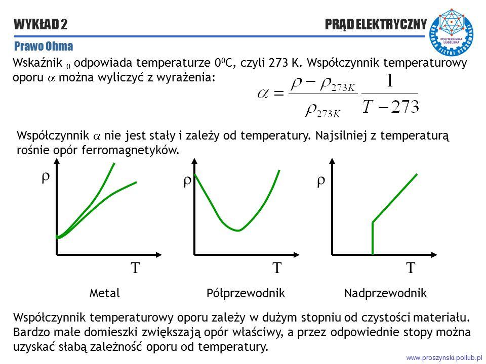www.proszynski.pollub.pl WYKŁAD 2 PRĄD ELEKTRYCZNY Wskaźnik 0 odpowiada temperaturze 0 0 C, czyli 273 K. Współczynnik temperaturowy oporu  można wyli