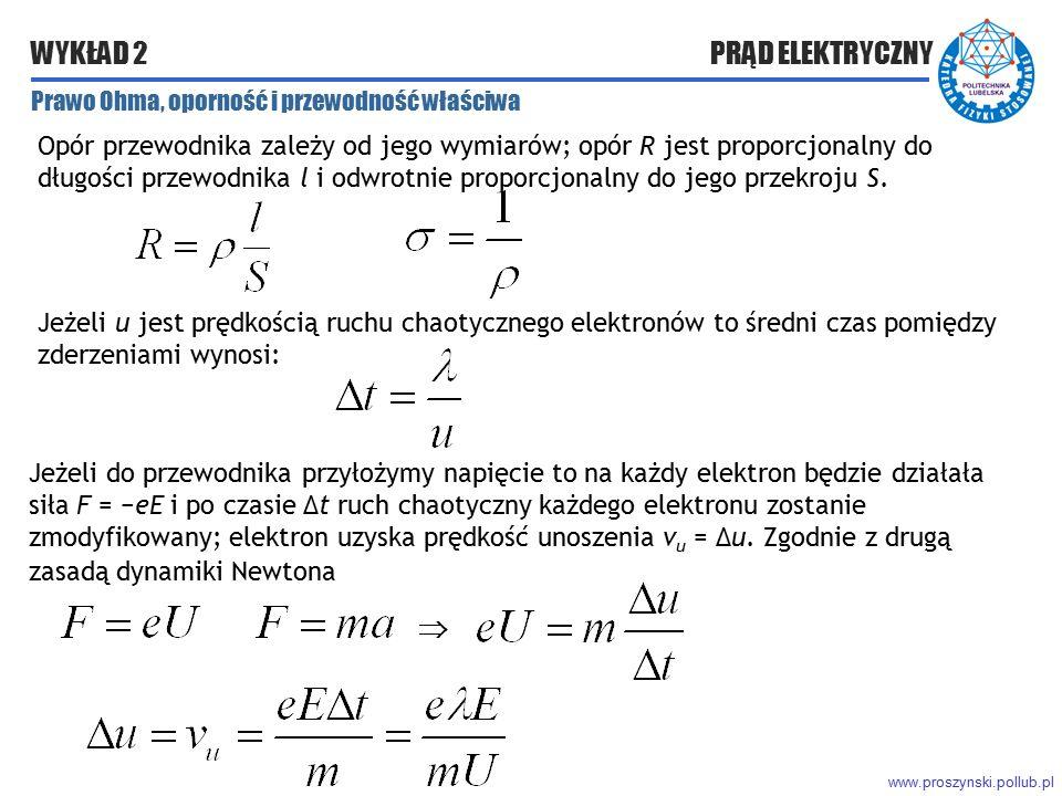 www.proszynski.pollub.pl WYKŁAD 2 PRĄD ELEKTRYCZNY Prawo Ohma, oporność i przewodność właściwa Opór przewodnika zależy od jego wymiarów; opór R jest p