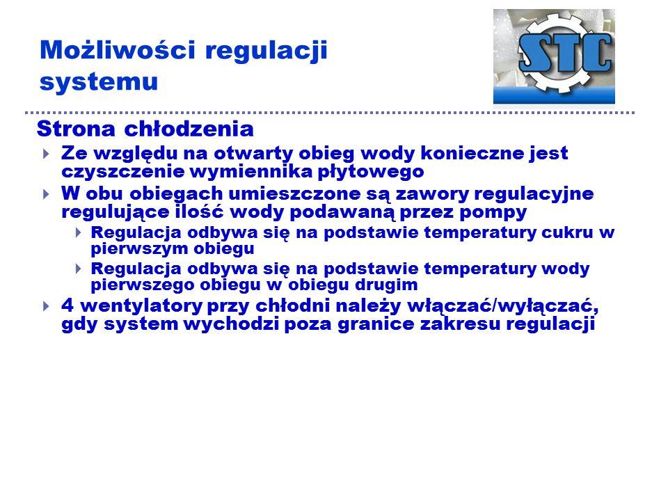 Możliwości regulacji systemu Strona chłodzenia  Ze względu na otwarty obieg wody konieczne jest czyszczenie wymiennika płytowego  W obu obiegach umieszczone są zawory regulacyjne regulujące ilość wody podawaną przez pompy  Regulacja odbywa się na podstawie temperatury cukru w pierwszym obiegu  Regulacja odbywa się na podstawie temperatury wody pierwszego obiegu w obiegu drugim  4 wentylatory przy chłodni należy włączać/wyłączać, gdy system wychodzi poza granice zakresu regulacji